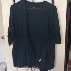 Dark Teal Draped Open Cardigan